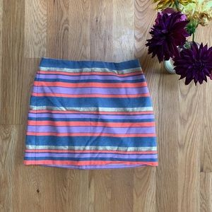 Jcrew Bright Stripped Polyester Cotton Aline Skirt